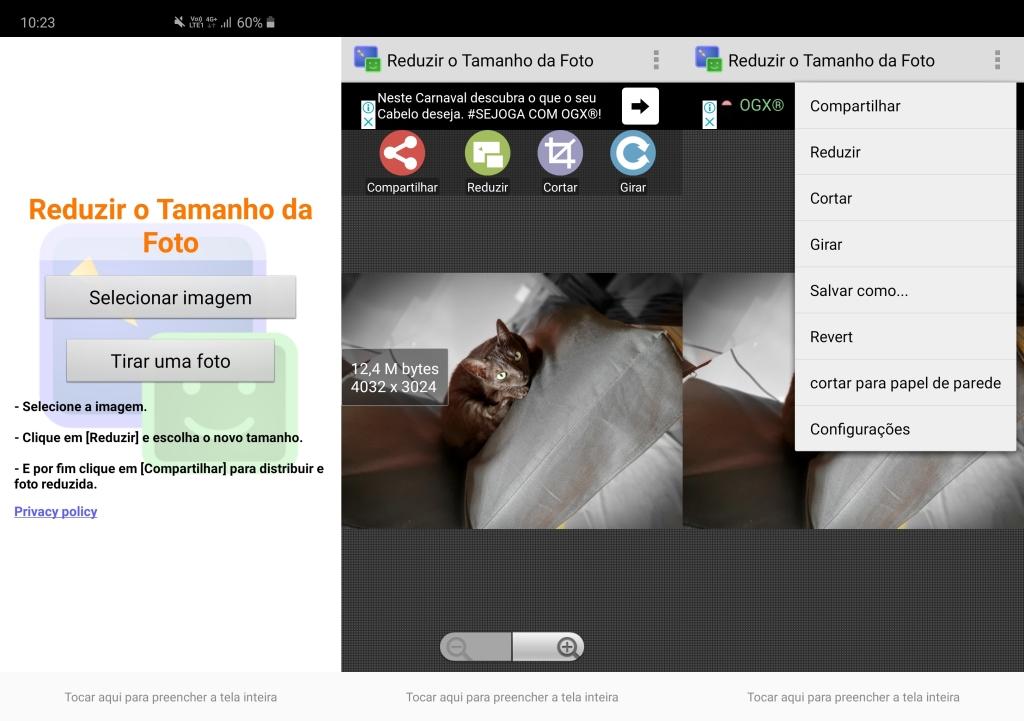 شاشات من تطبيق Reduce Photo Size ، تُظهر خطوات اختيار الصورة المعدلة وتهيئتها وتسجيلها.