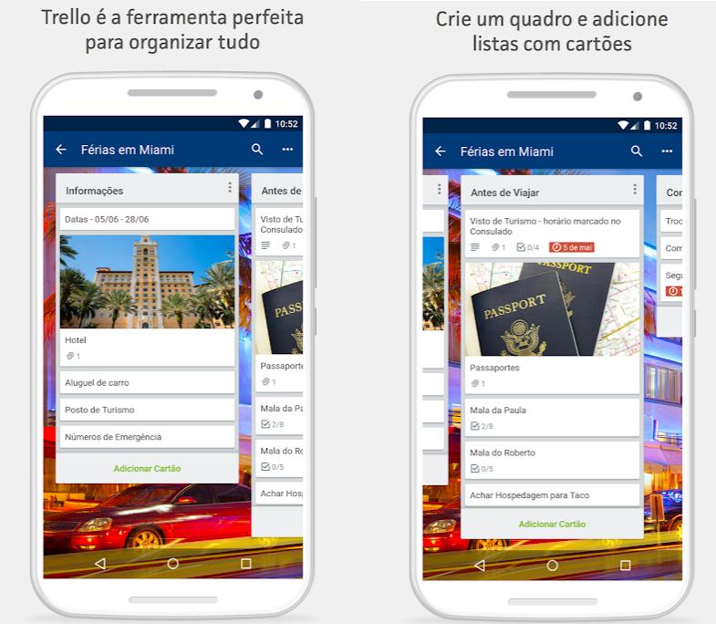 شاشتان Trello تعرضان مربعات مختلفة مع نصوص داخل هذا التطبيق لنظام Android