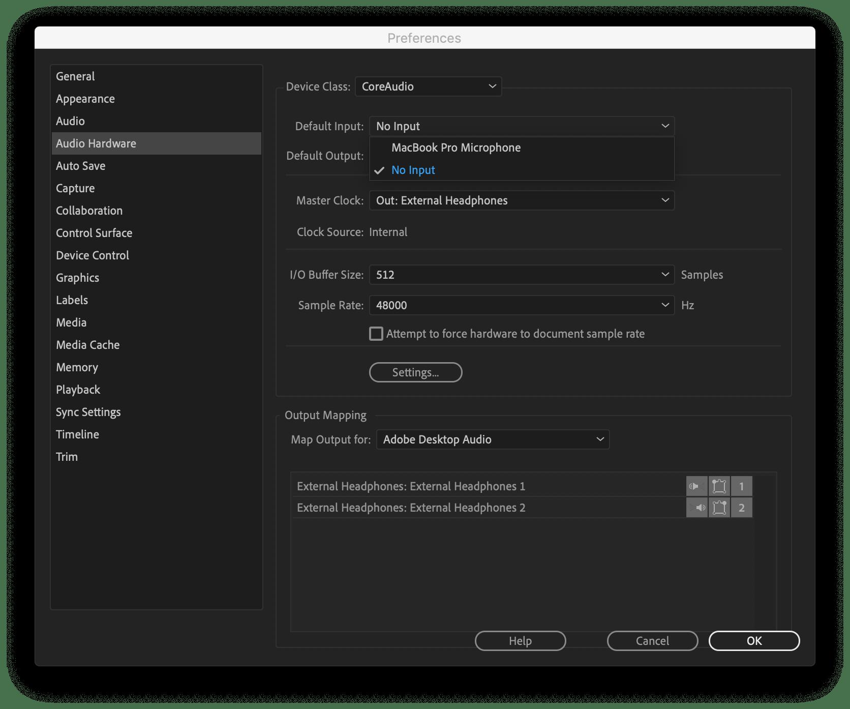 تغيير تفضيلات Adobe Premiere CC لمنع انفجار مكبرات صوت Mac