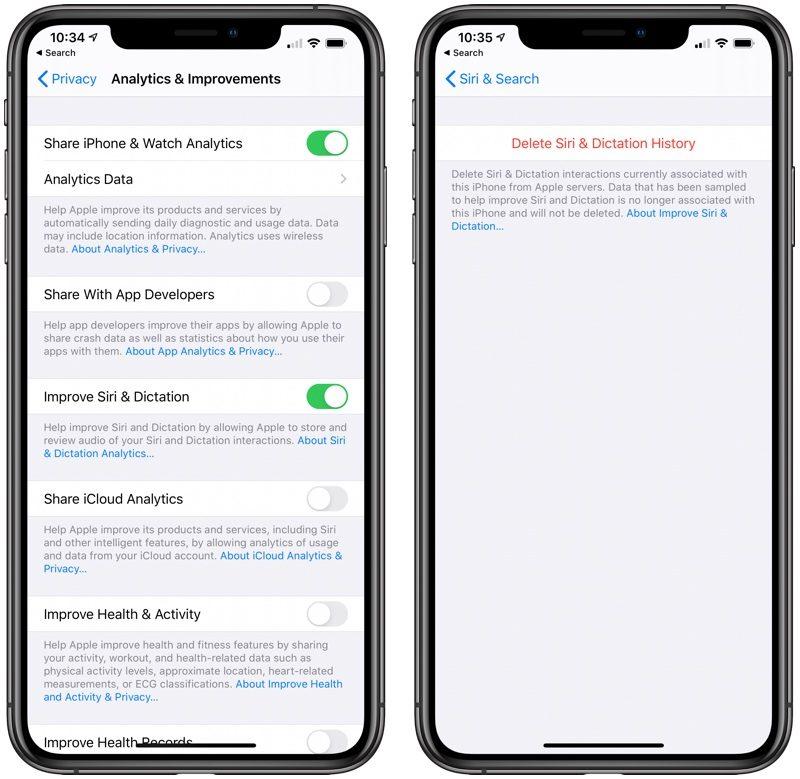 حذف التسجيلات من Siri على iOS 13.2 beta 2