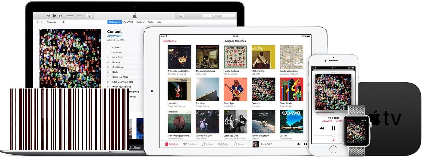 Dispositivos Apple logados no Apple Music