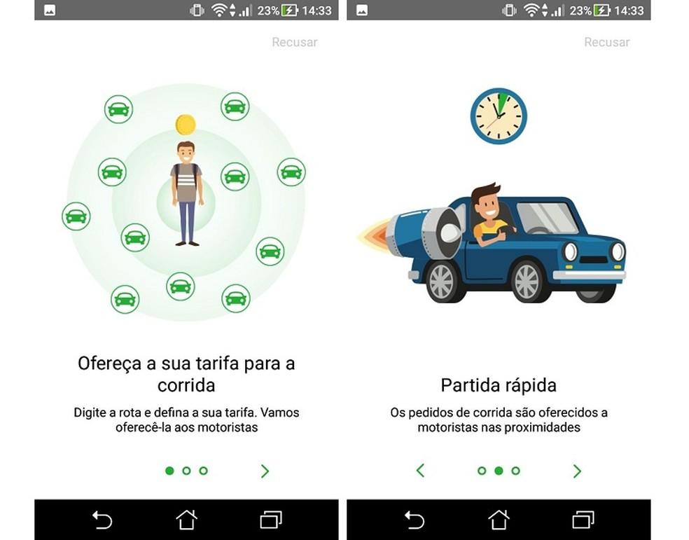 يسمح inDriver للمستخدم بتقديم مبلغ يتم دفعه للسباق Photo: Reproduo / Maria Dias