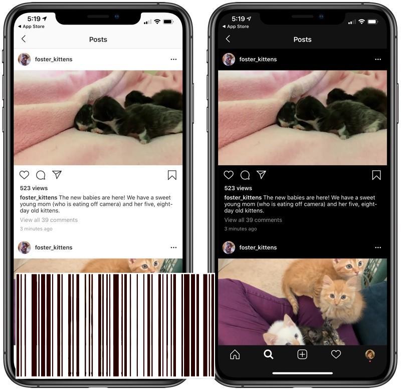 """مكاسب Instagram لدعم iOS 13 Dark Mode ؛ علامة التبويب """"التالية"""" لم تعد موجودة - MacMagazine.com"""