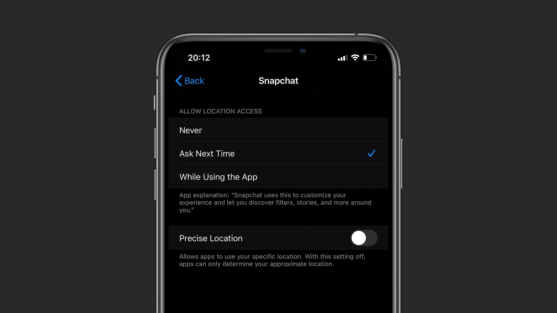 تعديل الموقع الدقيق على iOS 14