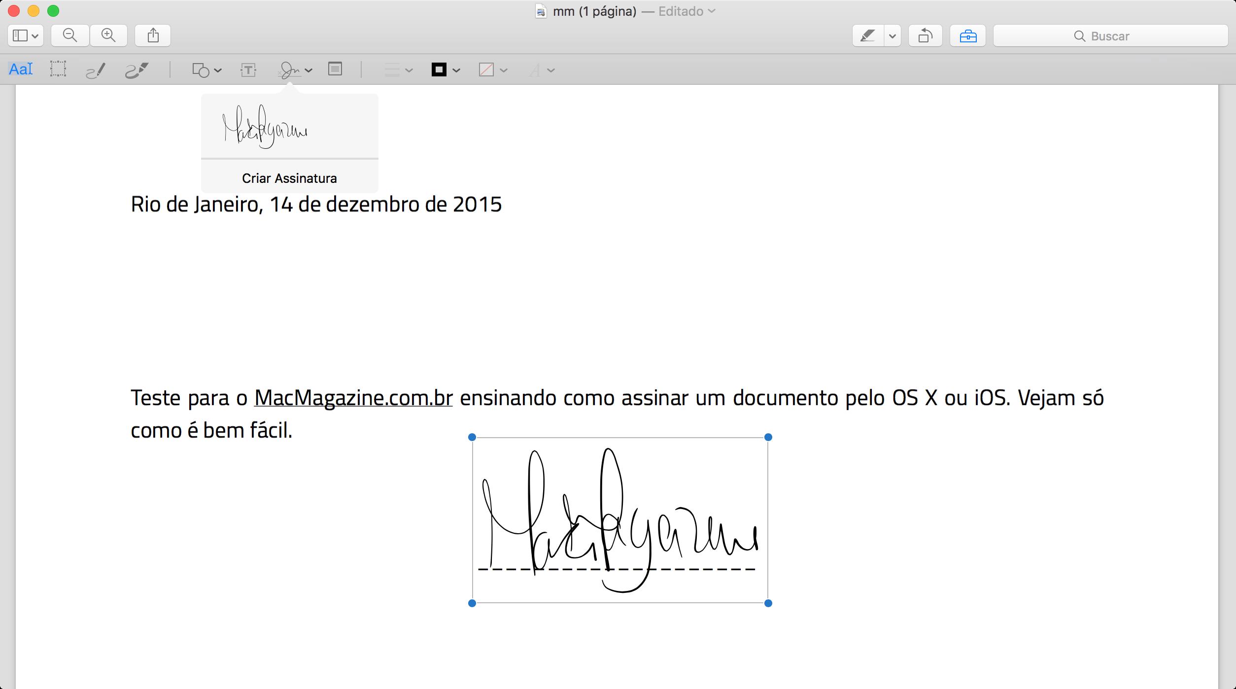توقيع مستند على ماك