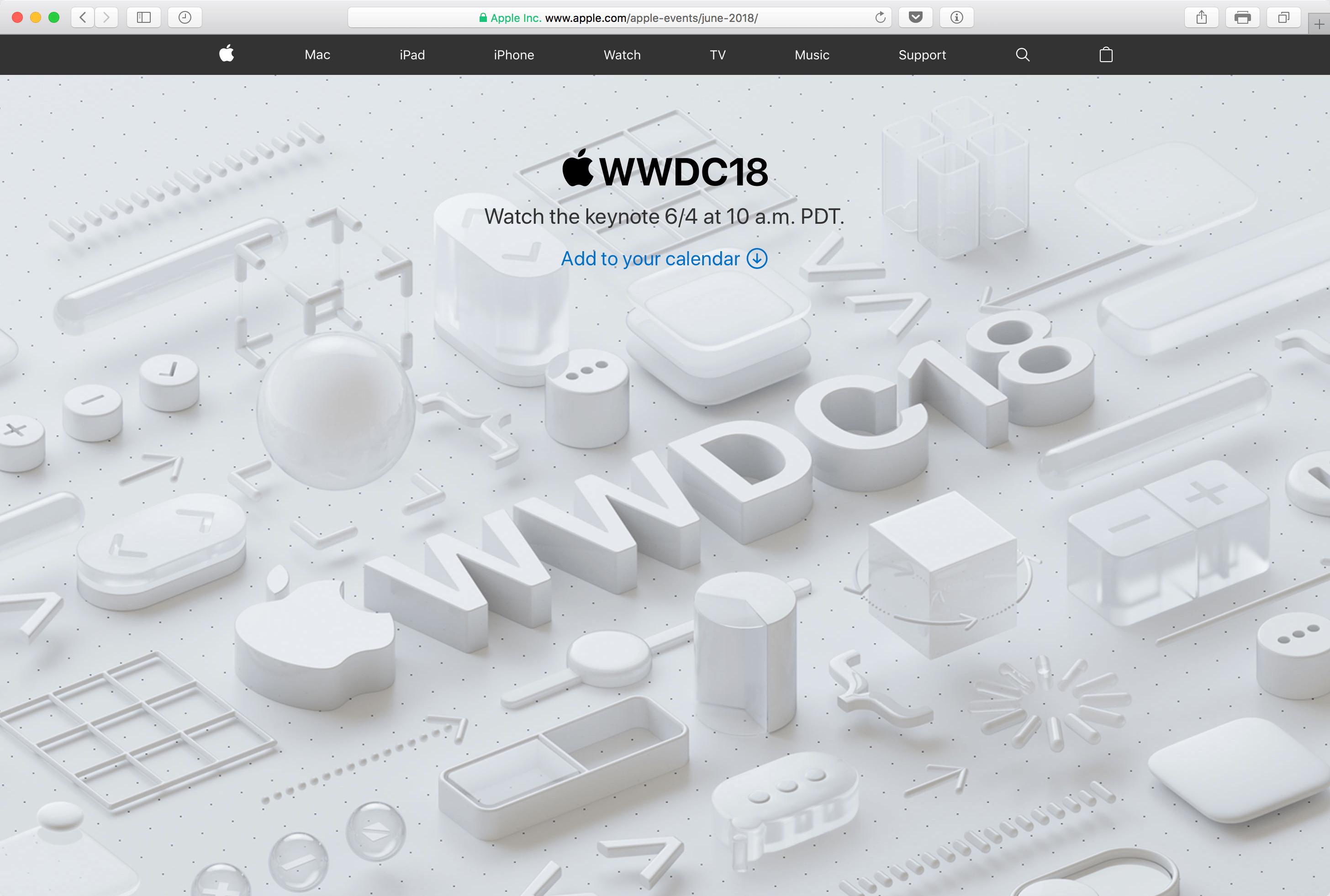 البث المباشر من Apple إلى WWDC18