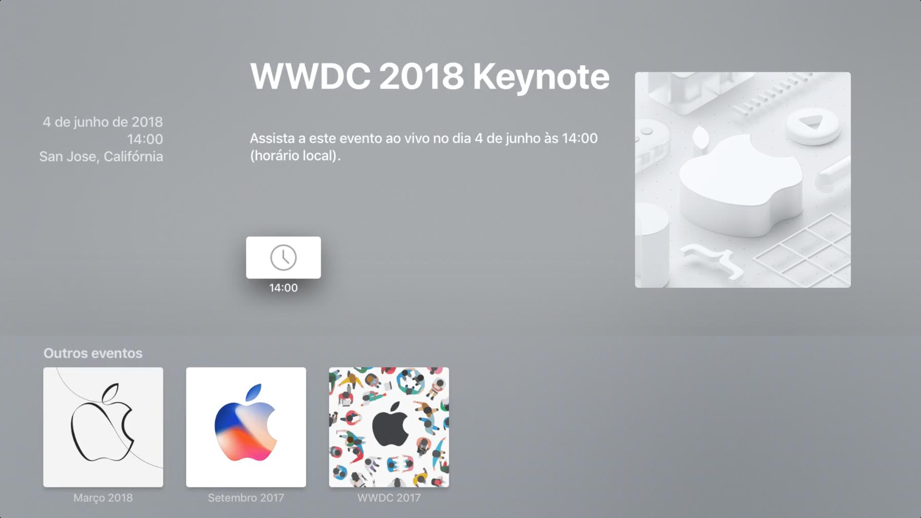 تطبيق Apple Events على Apple TV 4K