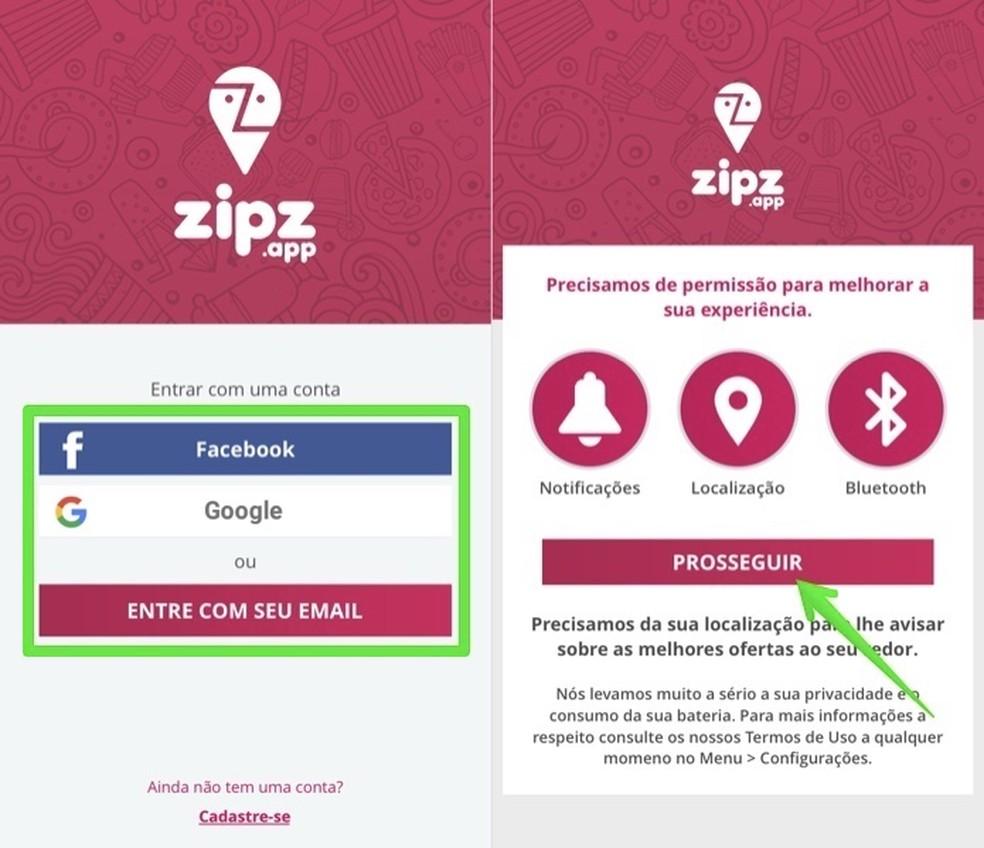 إنشاء حساب Zipz مجانا والسماح بالوصول إلى موقعك صور: Reproduo / Helito Beggiora