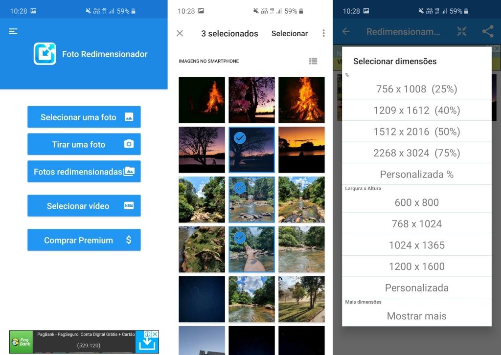 شاشات تطبيق Photo Resizer.