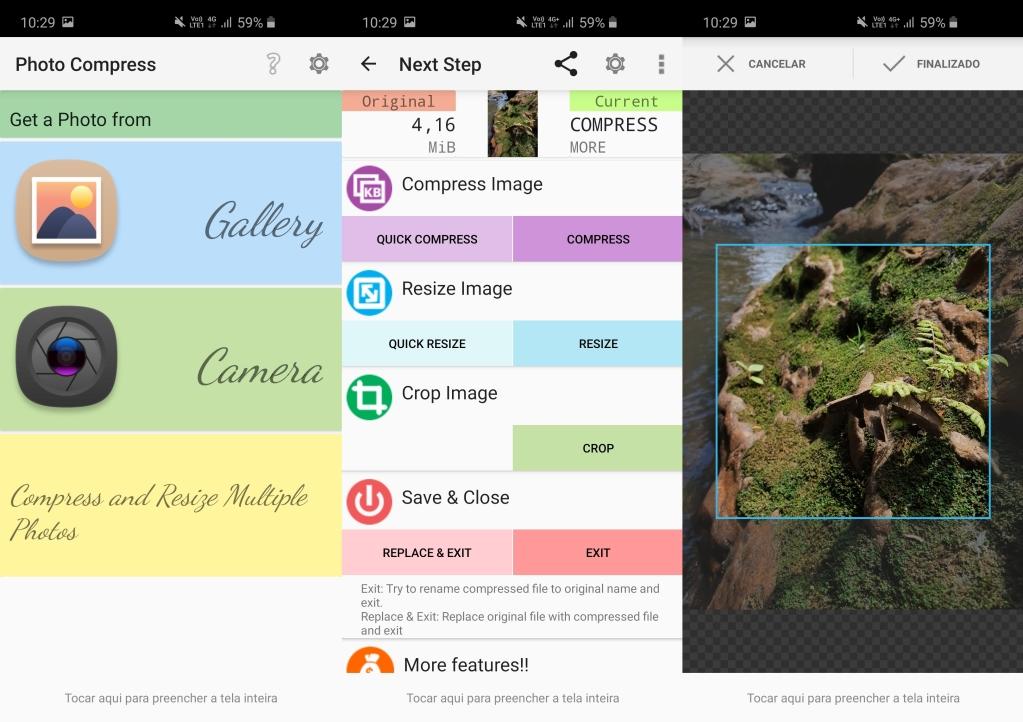 الشاشات الكاملة لبرنامج Photo Compress 2.0 لنظام Android ، والتي تعرض خيارات لاختيار الصورة وتحريرها وتسجيلها.
