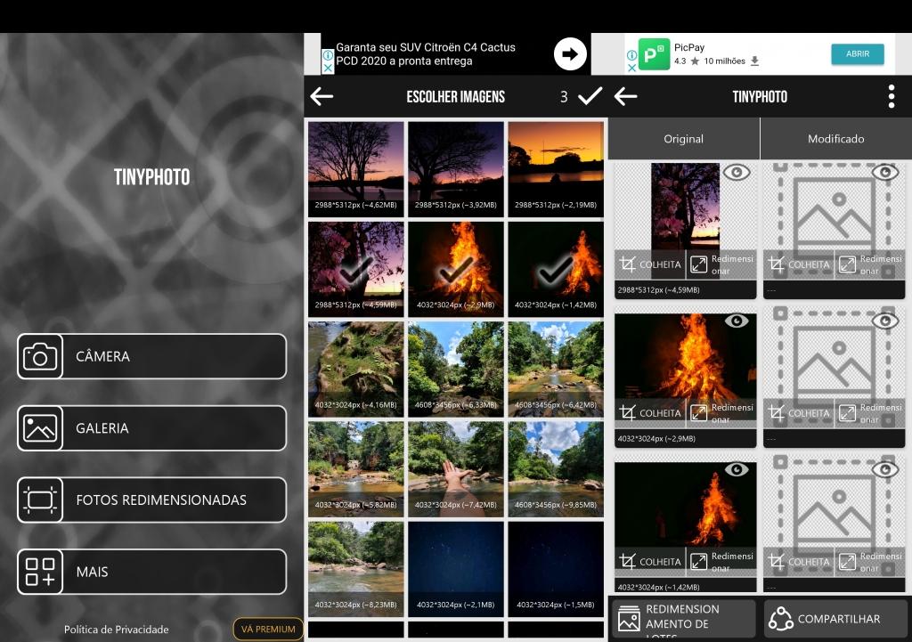 شاشات TinyPhoto تظهر الاختيار ومعالجة الصور.