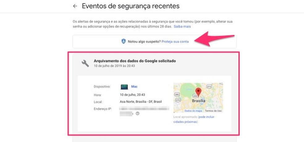 تفاصيل حول حدث أمان مسجل لحساب Google صورة: Reproduo / Marvin Costa