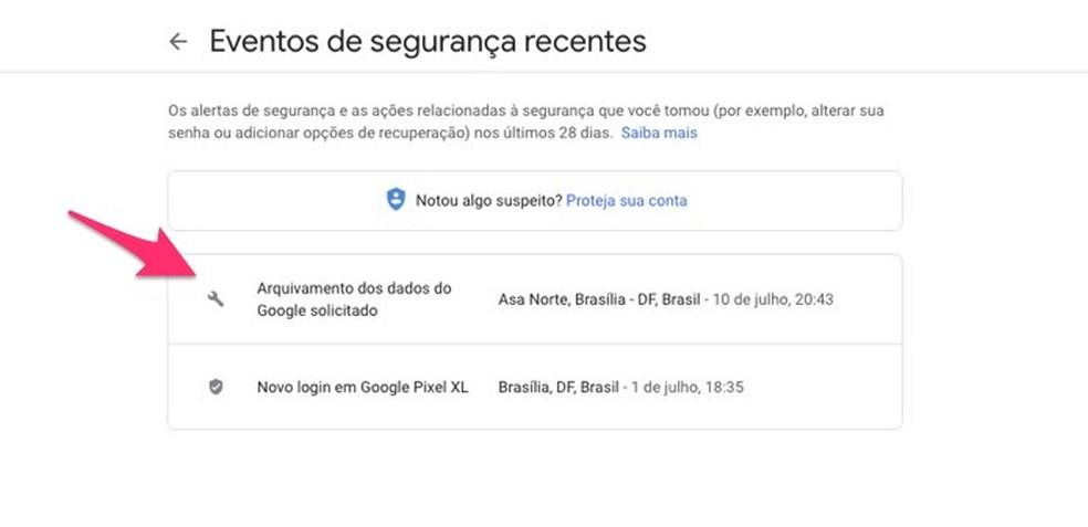 متى يجب التحقق من التفاصيل حول حدث أمان مسجل لحساب Google صورة: Reproduo / Marvin Costa