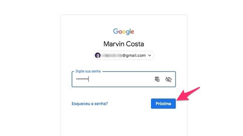 شاشة تسجيل الدخول للوصول إلى خدمات إدارة حساب Google Photo: Reproduo / Marvin Costa