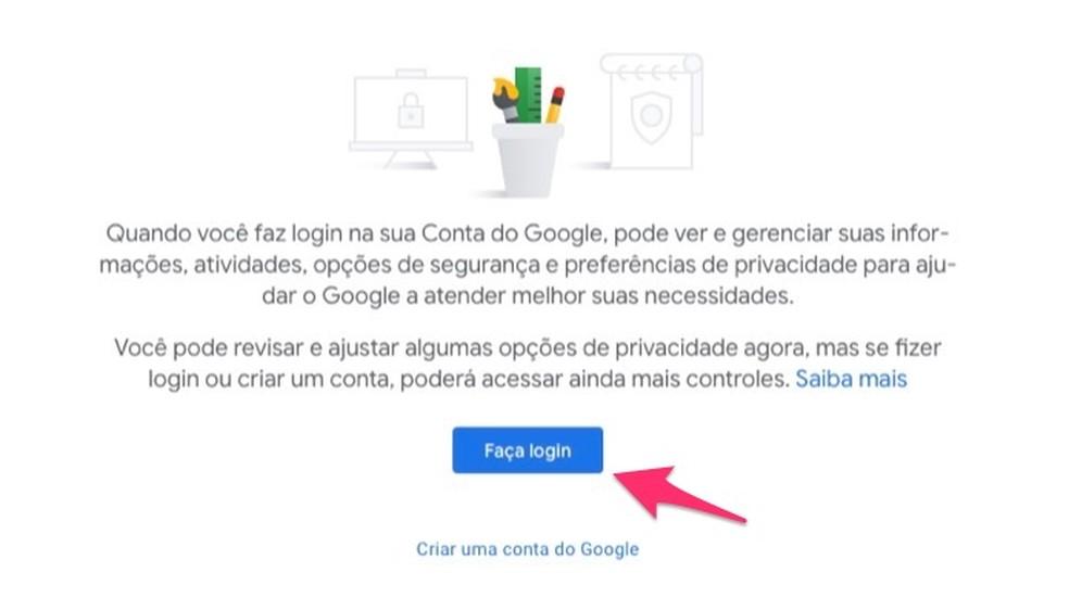متى تبدأ تسجيل الدخول إلى حساب Google لعرض صفحة أمان الخدمة صورة: Reproduo / Marvin Costa