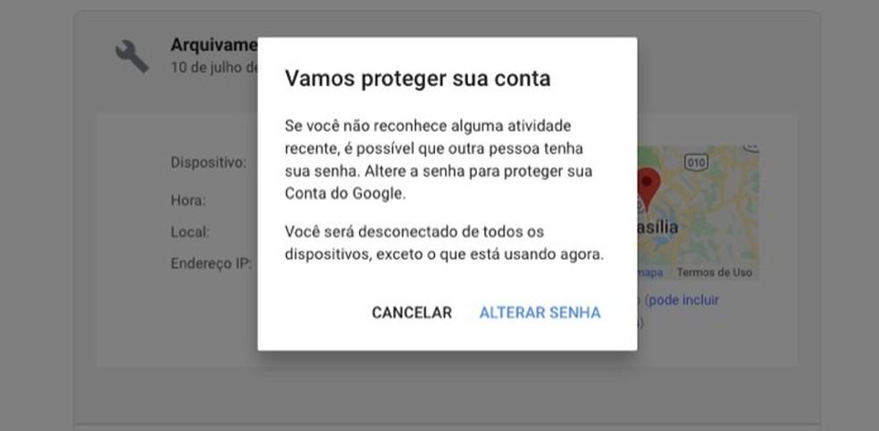 تم التحقق من إشارة تغيير كلمة المرور بعد الوصول المشبوه إلى حساب Google الصورة: Reproduo / Marvin Costa
