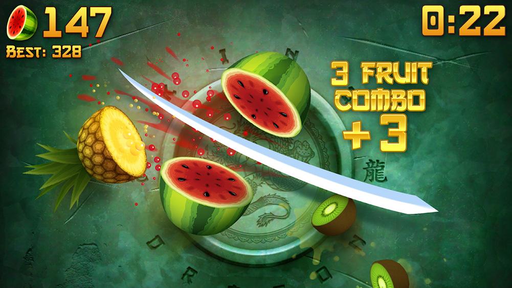 تطبيق Fruit Ninja ، يعبر الكاتانا شاشة قطع الكيوي والبطيخ والأناناس مع مضاعف التحرير والسرد