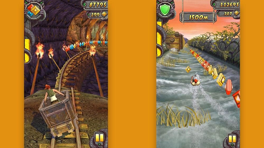 شاشتان من المعبد Run 2: يسار ، الشخصية في سيارة التعدين التي تعمل على السكك الحديدية. الحق ، لاعب يذهب إلى أسفل النهر.