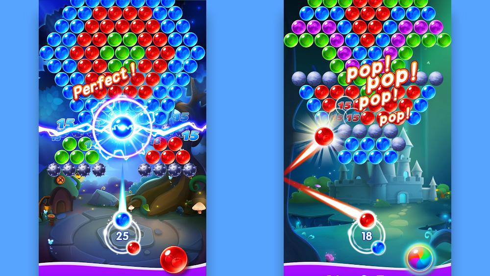 تطبيق Bubble shooter: يسارًا ، تعرض الشاشة الهدف المثالي (مثالي!) عند تصوير الفقاعة الزرقاء على شبكة سداسية. الحق ، فقاعة حمراء أداء التحرير والسرد.
