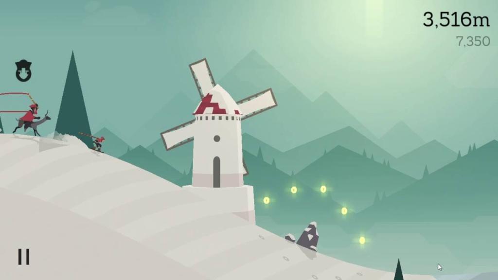 Alto's Adventure: يهرب Alto من القرية المثبتة على الألبكة ، قبل الوصول إلى طاحونة مباشرة والقفز على صخرة.