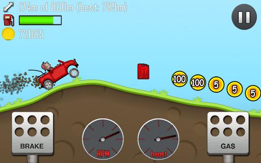 التطبيق Hill Climb Racing: لاعب على وشك جمع خزان الغاز والعملات المعدنية 100 و 5 نقاط.
