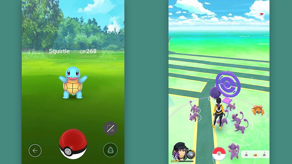 بوكيمون الذهاب: يظهر الشاشة اليسرى Squirtle على وشك أن يتم التقاطها. الحق ، المدرب في pokestop.
