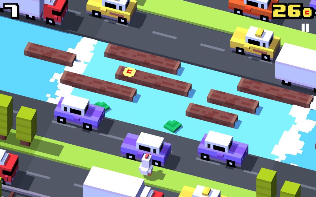 تطبيق Crossy Road ، الدجاج يعبر موقع البناء المتراكم 7 نقاط.