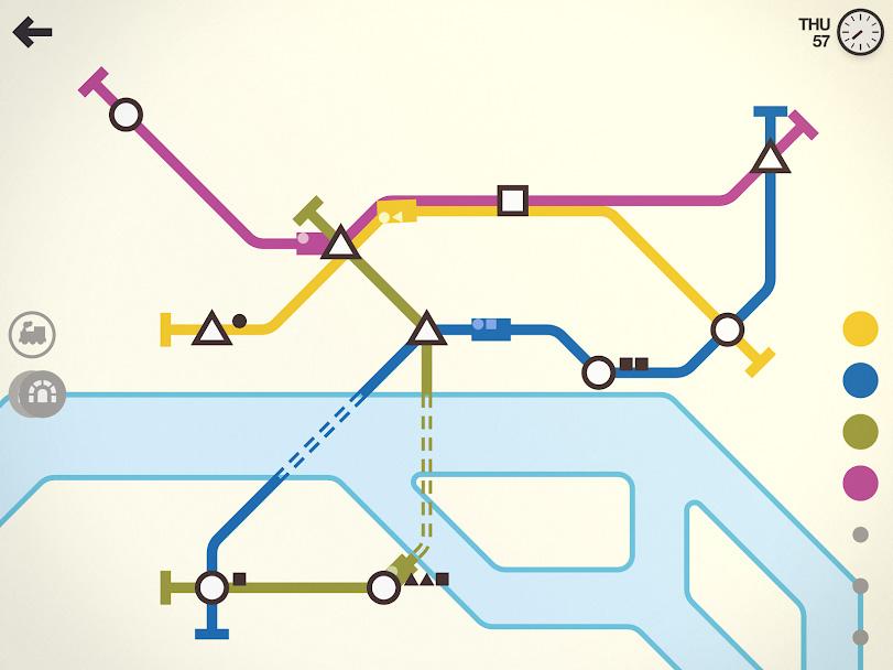 تطبيق Mini Metro: خطوط المترو في اللون الأزرق والأصفر والأرجواني والأخضر تتشابك مع محطات في شكل دائرة ومربع ومثلث.