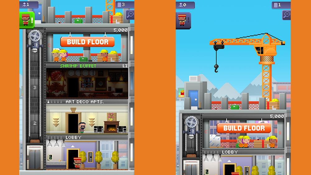تطبيق برج صغير: مبنى من ثلاثة طوابق على الجانب الأيسر وأرضية جديدة (مع رافعة برتقالية) على الجانب الأيمن.