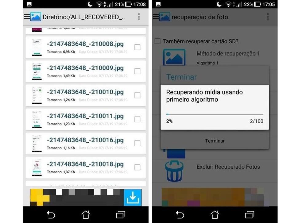يستخدم Photo Recovery طريقتين ، مع خوارزميات مختلفة ، للبحث عن الملفات المفقودة على Android Photo: Reproduo / Maria Dias