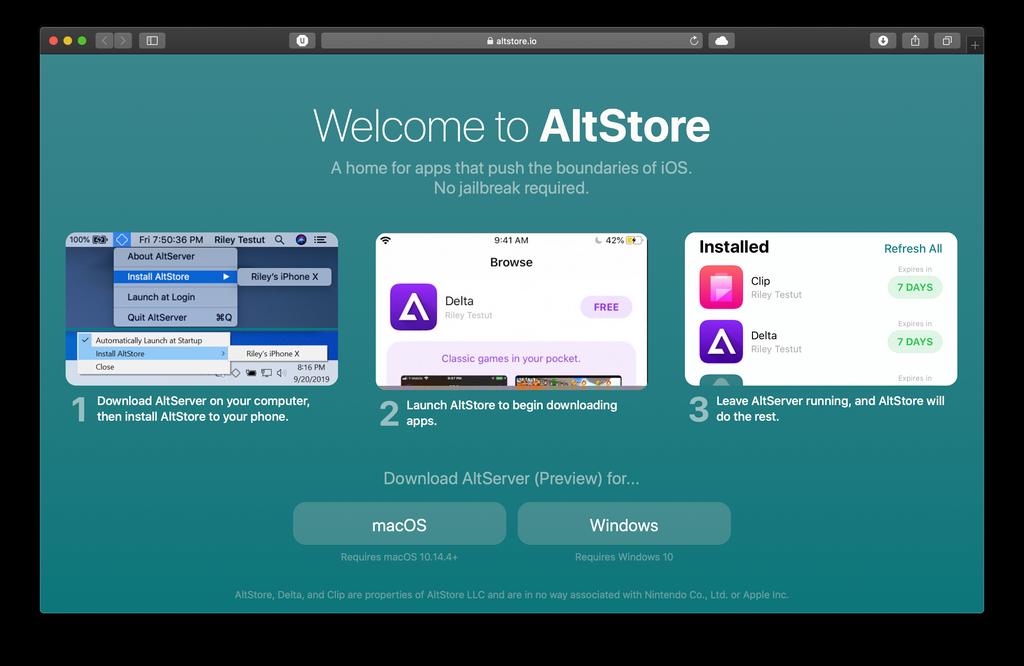 موقع تنزيل AltStore