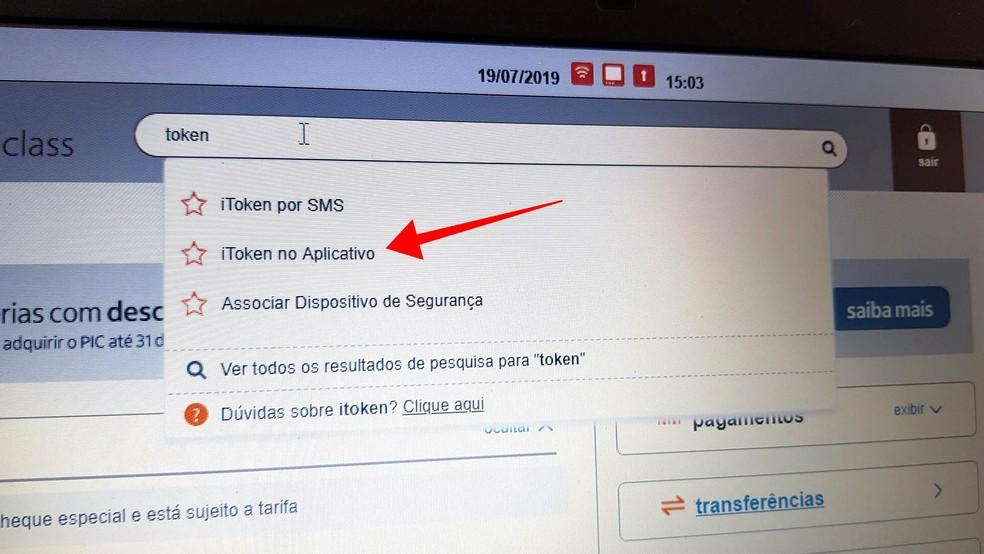 الوصول إلى تكوين iToken من خلال البحث عن Ita App Photo: Paulo Alves / TechTudo
