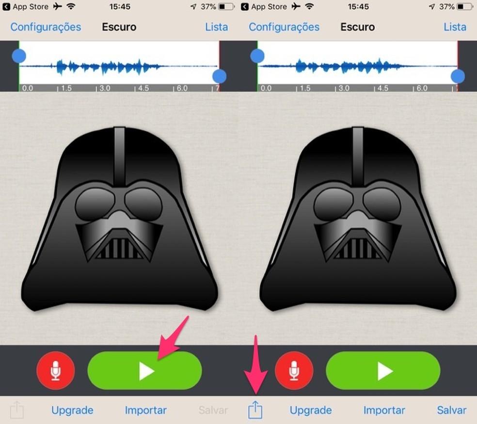 متى تسمع تأثيرًا وفتح خيارات المشاركة في تطبيق Voice Changer Plus لـ iPhone (iOS) Photo: Reproduo / Marvin Costa