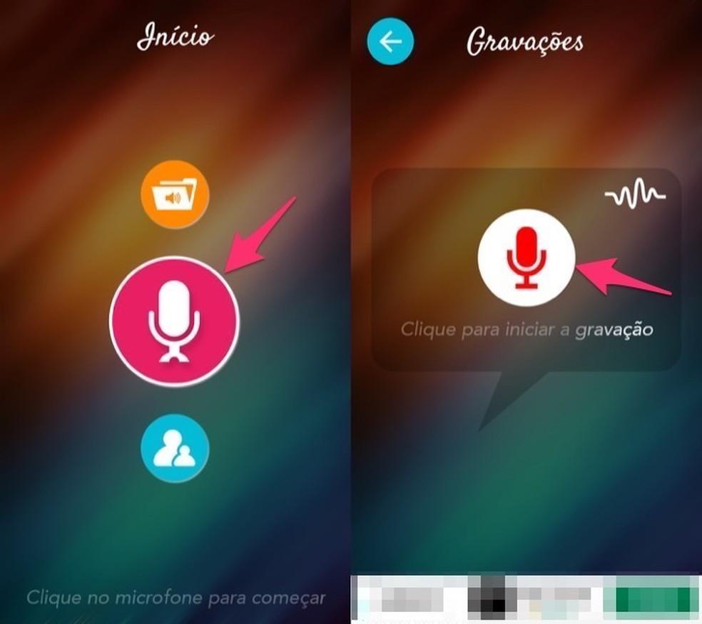 متى تفتح الشاشة للتسجيل الصوتي في تطبيق Voice Changer لـ Android Photo: Reproduo / Marvin Costa