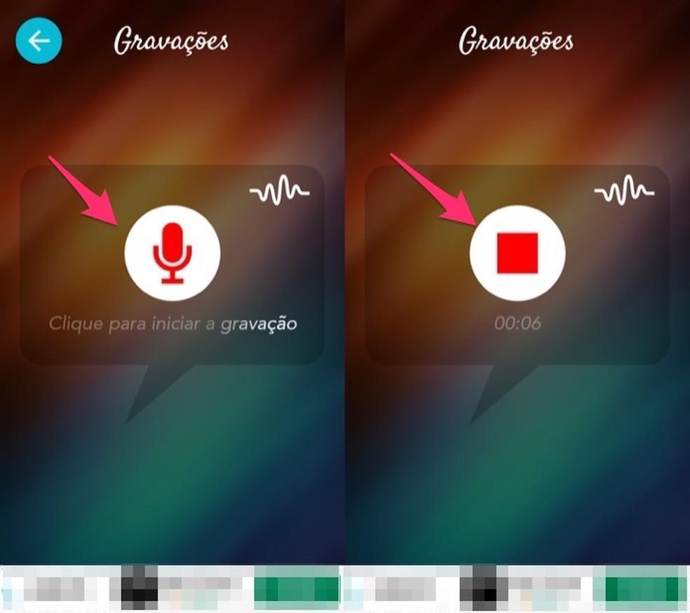 وقت تسجيل مقطع صوتي وإنهائه في تطبيق Voice Changer لـ Android Photo: Reproduo / Marvin Costa