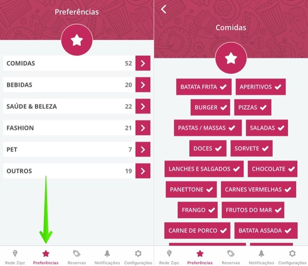 تخصيص التفضيلات في تطبيق Zipz Photo: Reproduction / Helito Beggiora