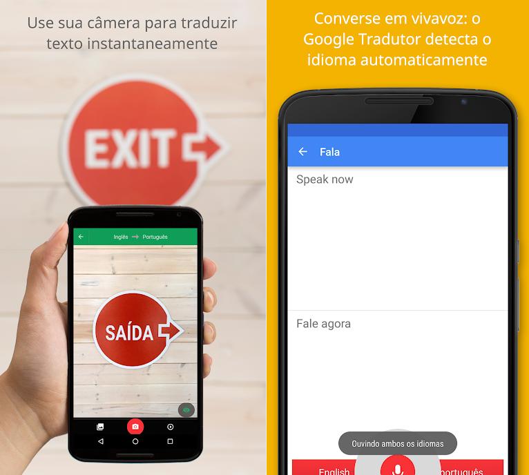 شاشتين ترجمة جوجل. اليسار ، ترجمة اللوحة. الحق ، التطبيق ترجمة خطاب المستخدم.