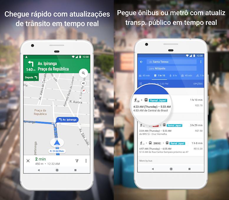 اثنين من النسخ الشاشة. اليسار ، GPS مع السيارة. على اليمين ، خدمة مع جداول الحافلات.
