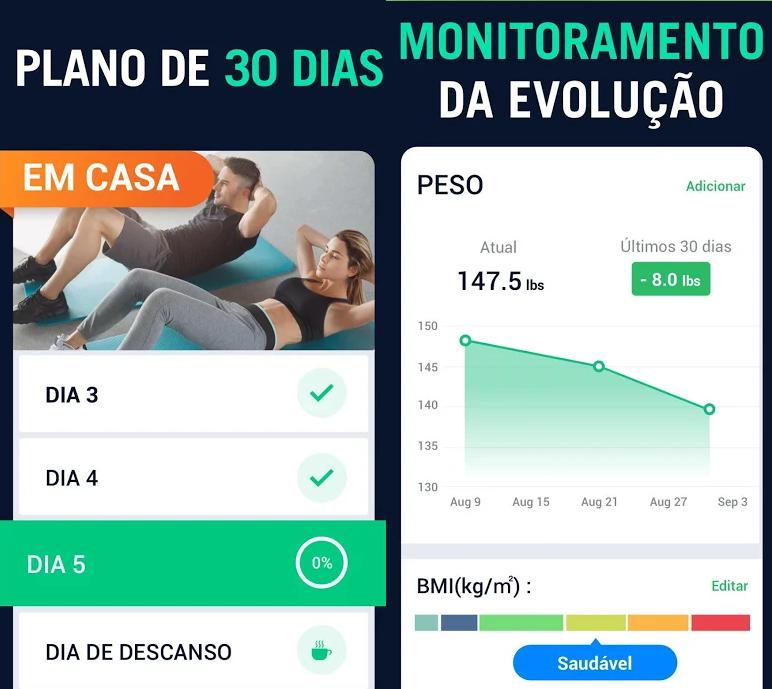 شاشتان من التطبيق: واحدة مع التحكم في التمرينات في اليوم الواحد والأخرى تظهر فقدان الوزن في 30 يوما.