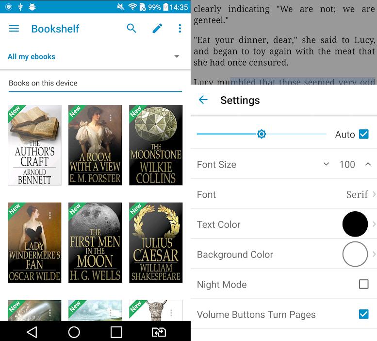 تظهر الصورة شاشتين من التطبيق. الأول مع الكتب المسجلة على الهاتف الخليوي والثاني مع تكوين النص للقراءة.