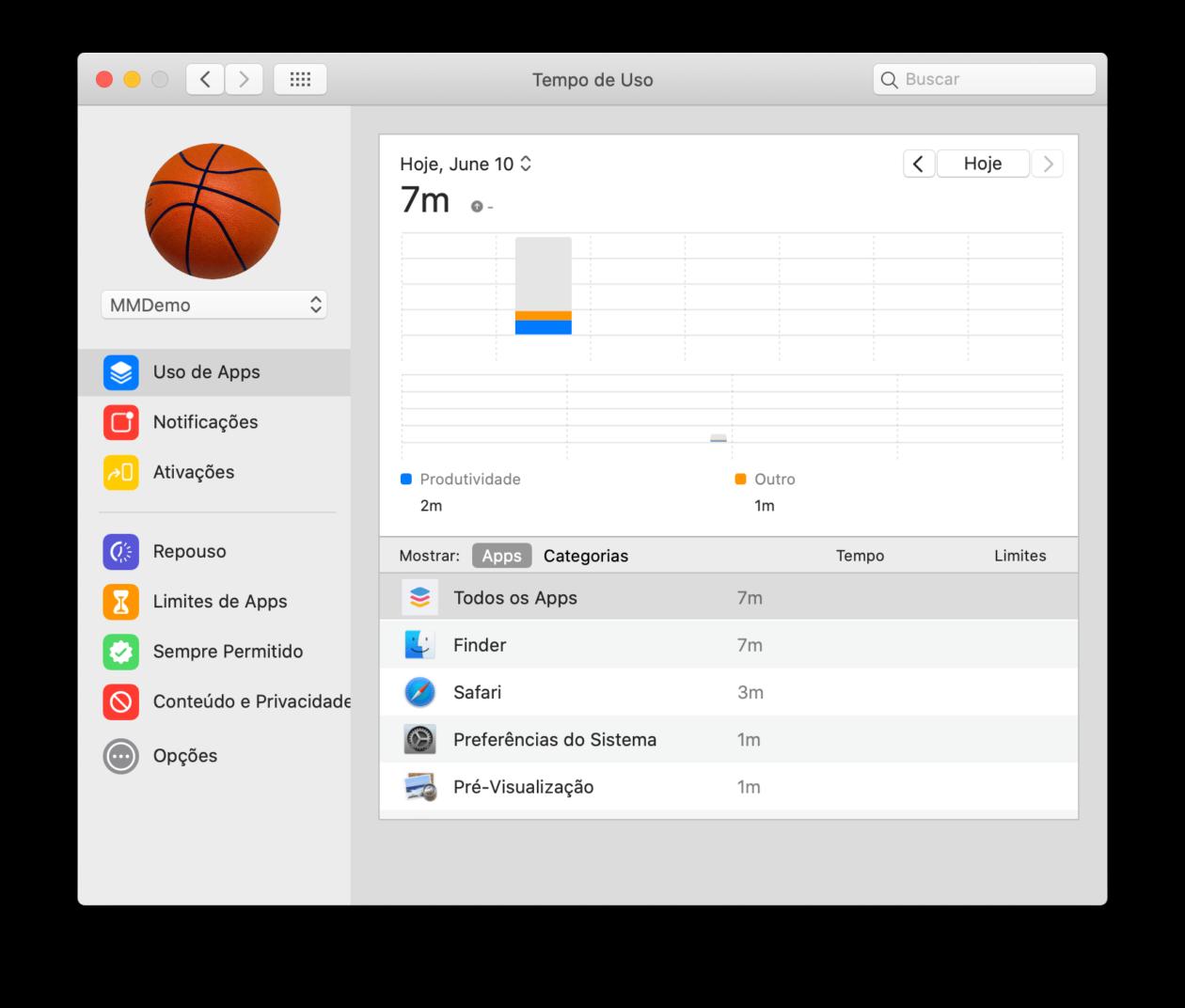 ميزة وقت الاستخدام في نظام التشغيل MacOS Catalina