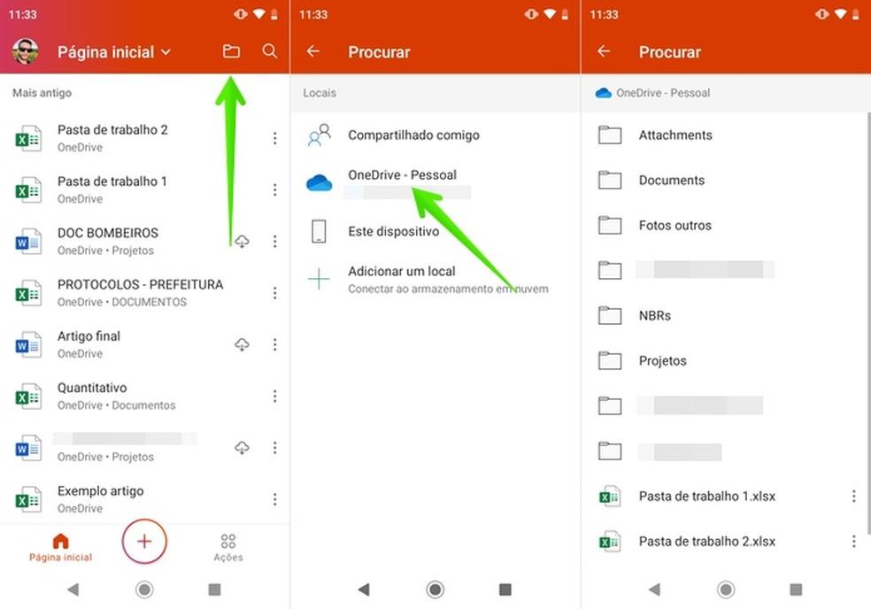 فتح ملفات OneDrive في تطبيق Microsoft Office Photo: Reproduo / Helito Beggiora