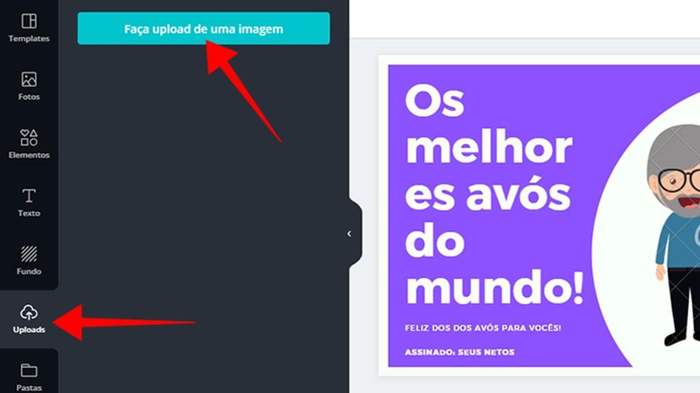 إضافة صور من مجموعتك الشخصية لتصميم Canva الصورة: Reproduo / Paulo Alves