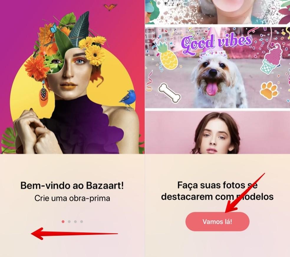 تشرح الشاشات التمهيدية لتطبيق ملصقة الصور كيفية عمل بازارت للصور: Reproduo / Helito Beggiora