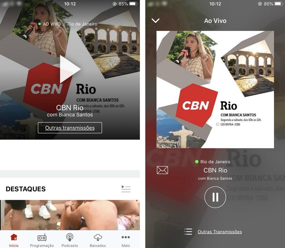 يحتوي CBN على تطبيق يبث البرنامج الكامل للمحطة للاستماع إلى راديو FM عبر الإنترنت Photo: Reproduo / Rodrigo Fernandes