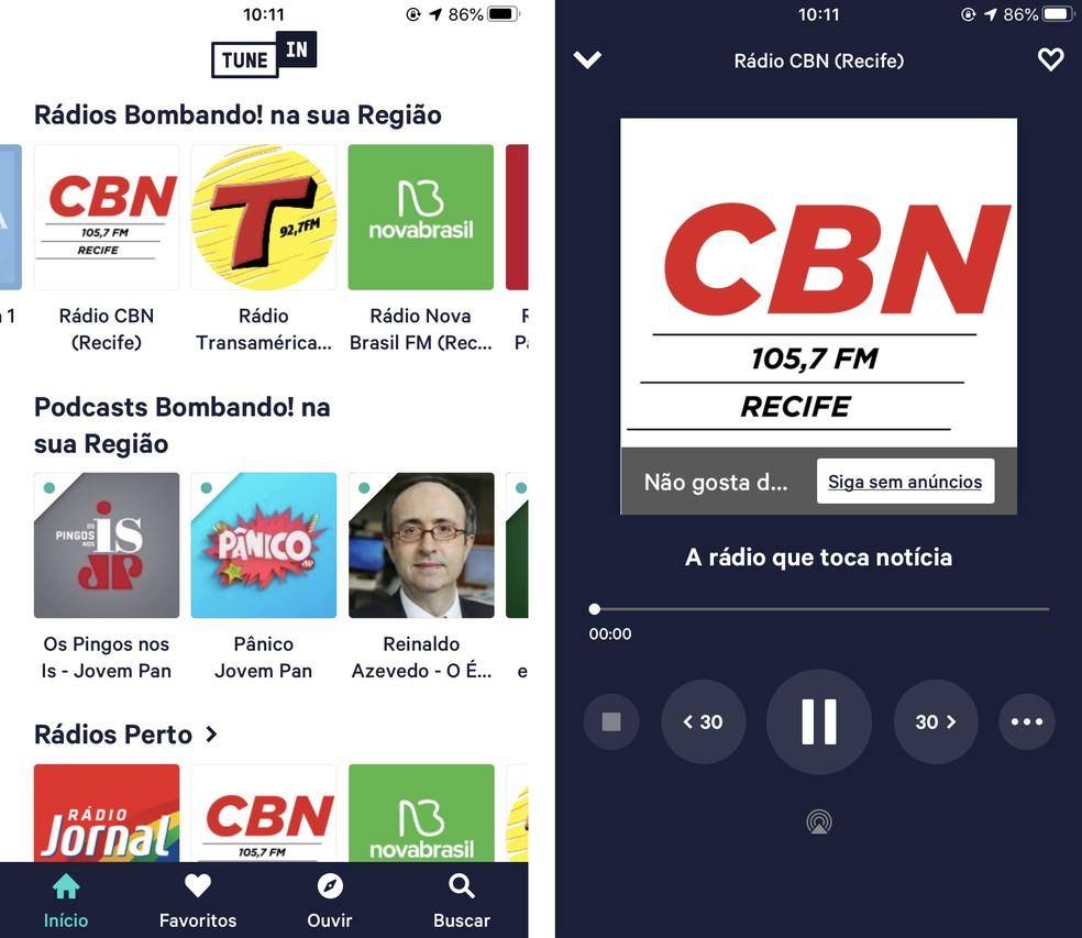 يمكن تشغيل راديو TuneIn عبر الإنترنت على هاتفك الخلوي Photo: Reproduo / Rodrigo Fernandes