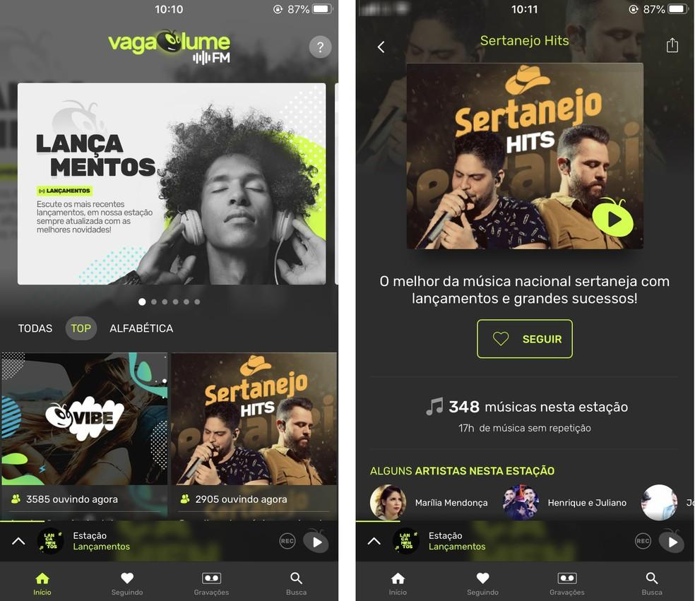 يتيح لك Vagalume.fm الاستماع إلى الموسيقى عبر الإنترنت باستخدام راديو ويب Photo: Reproduo / Rodrigo Fernandes