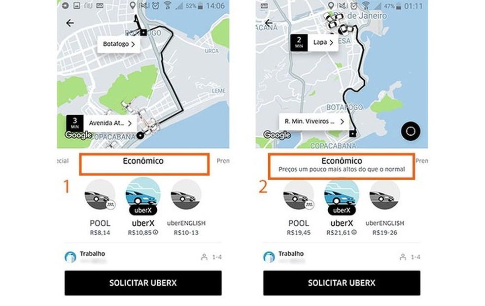 Uber هي واحدة من منصات inDriver المنافسة وتتقاضى سعراً متغيراً للسباق من خلال السعر الديناميكي Photo: Reproduo / Barbara Mannara