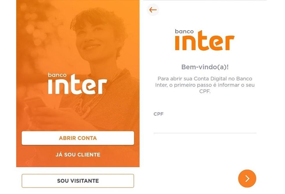 لفتح حساب رقمي في Banco Inter ، تحتاج إلى تنزيل التطبيق والتسجيل باستخدام البيانات الشخصية Photo: Reproduo / Maria Dias