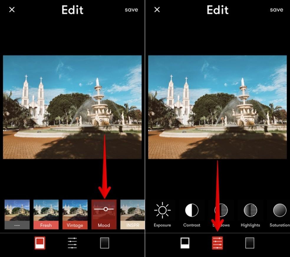 تحرير الصور وتطبيق المرشحات في تطبيق Tezza Photo: Reproduo / Helito Beggiora